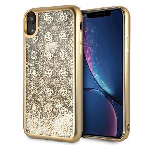 Guess GUHCI61PEOLGGO iPhone Xr złoty /gold hard case 4G Peony Liquid Glitter