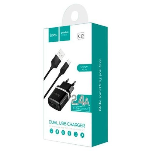 HOCO C12 NETWORK CHARGER + TYPE-C CABLE BLACK