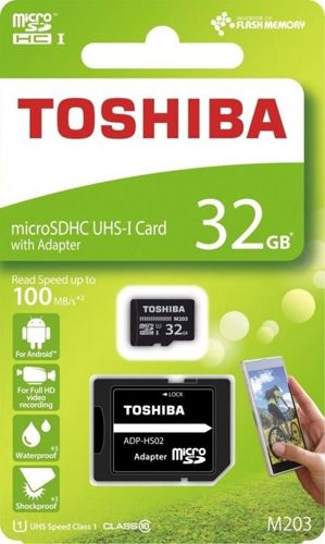 Karta pamięci microSD HC 32GB TOSHIBA CL10 UHS 100MB/S +ADAPTER