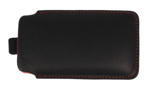 Pionowa skórzana wsuwka Vena NOKIA C3-01 czarna (czerwony środek)