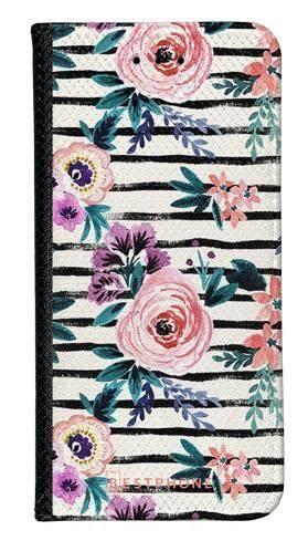 Portfel Wallet Case LG K40 kwiaty i paski