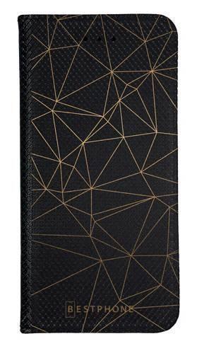Portfel Wallet Case LG K40 trójkątny wzór złoty