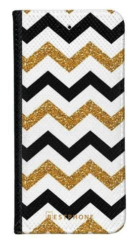 Portfel Wallet Case Samsung Galaxy A10e złoto czarny szlaczek