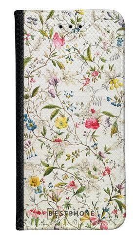 Portfel Wallet Case Samsung Galaxy A60 białe kwiatki