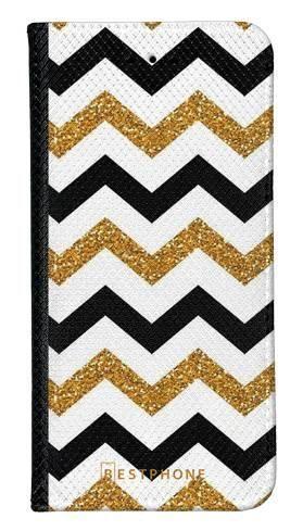 Portfel Wallet Case Samsung Galaxy Note 10 złoto czarny szlaczek