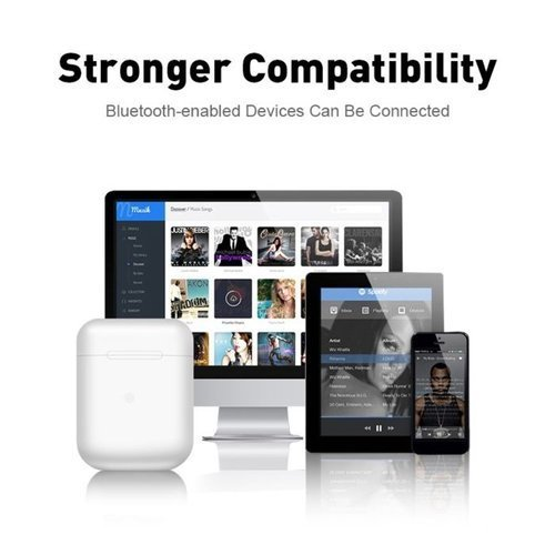 Słuchawki bezprzewodowe Bluetooth 5.0 I12 TWS + kabel lightning białe