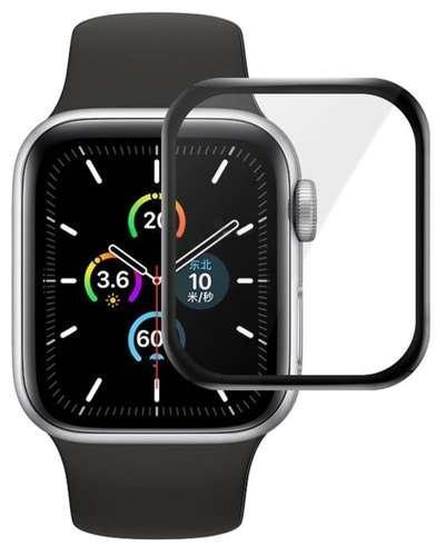Szkło hybrodowe FULL GLUE 5D do Apple Watch 4 / 5 / 6 / SE 44mm czarny
