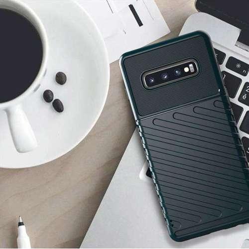 Thunder Case elastyczne pancerne etui pokrowiec Samsung Galaxy S10 Plus zielony