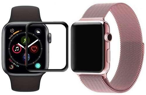 opaska pasek bransoleta MILANESEBAND Apple Watch 4/5/6/SE 40mm różowa +szkło 5D